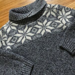 Gray Fair Isle Sweater, like new
